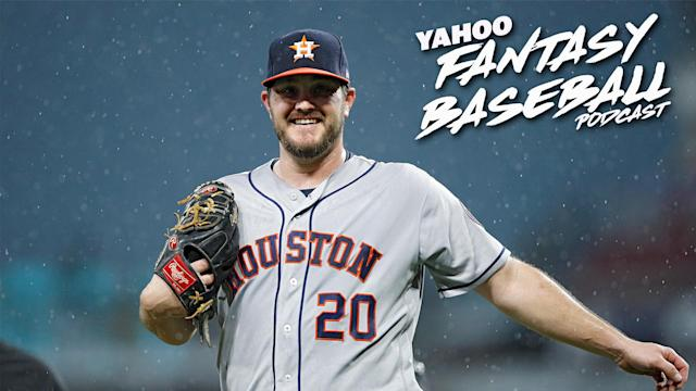 """On the latest Yahoo Fantasy Baseball Podcast, Scott Pianowski and Fred Zinkie discuss the biggest fantasy takeaways from the first half of the 2019 season, including Wade Miley's solid performance with the <a class=""""link rapid-noclick-resp"""" href=""""/mlb/teams/houston/"""" data-ylk=""""slk:Houston Astros"""">Houston Astros</a>. (Photo by Joe Robbins/Getty Images)"""