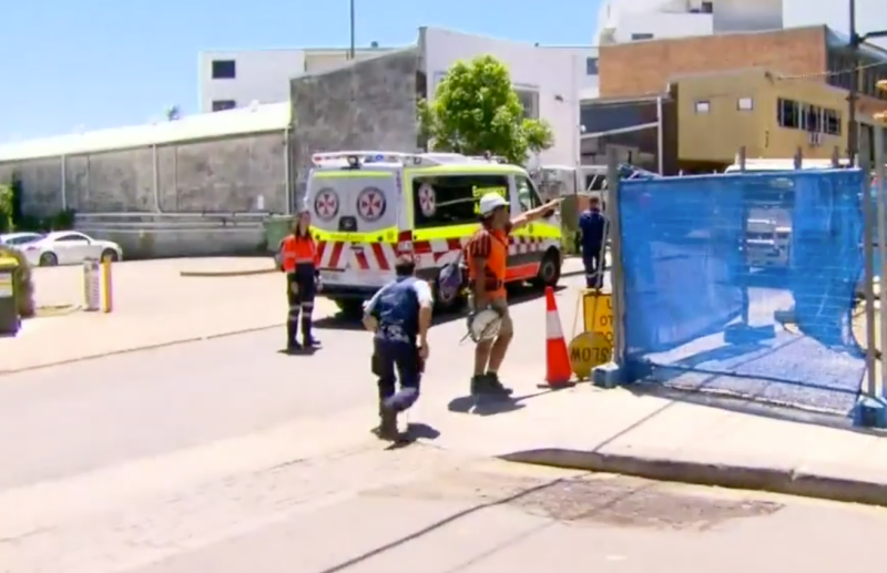 An ambulance pictured at a construction site in St Peters, Sydney.