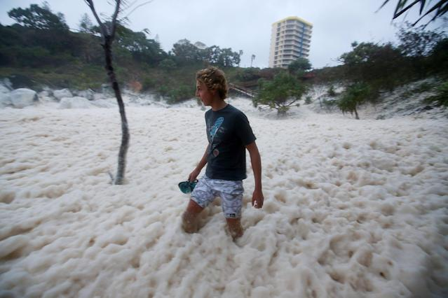 A man walks through ocean foam in Snapper Rocks as Queensland experiences severe rains and flooding from Tropical Cyclone Oswald on January 28, 2013 in Gold Coast, Australia. Hundreds have been evacuated from the towns of Gladstone and Bunderberg while the rest of Queensland braces for more flooding. (Photo by Chris Hyde/Getty Images)