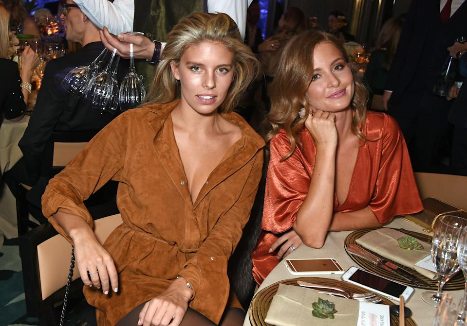 LONDON, ENGLAND - JANUARY 21: Natasha Oakley (L) and Millie Mackintosh attend a private dinner hosted by Creme de la Mer to celebrate the launch of Genaissance de la Mer the Serum Essence, available exclusively at Harrods, at Sexy Fish on January 21, 2016 in London, England. (Photo by David M. Benett/Dave Benett/Getty Images for Creme de la Mer)