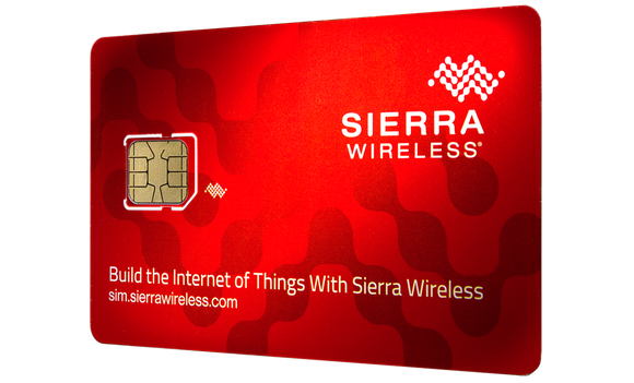 A red-colored smart SIM card from Sierra Wireless