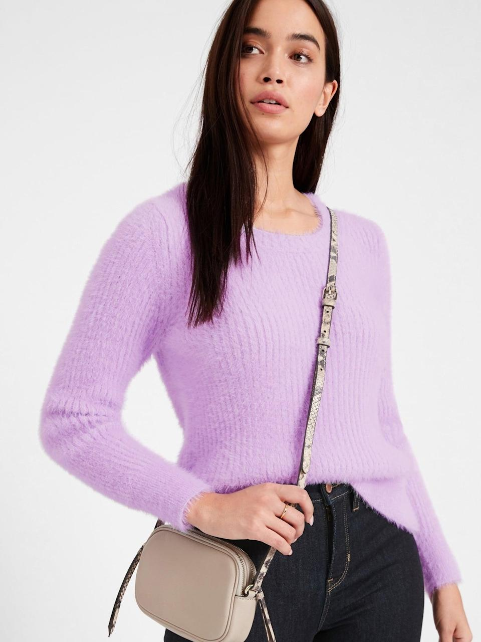 <p>This <span>Fuzzy Crew-Neck Sweater</span> ($49, originally $99) is ridiculously soft.</p>