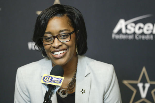 FILE - In this Feb. 5, 2020, file photo, Vanderbilt interim athletic director Candice Lee answers questions during a news conference in Nashville, Tenn. Vanderbilt has removed the interim title, making Candice Storey Lee the first black woman to become an athletic director in the Southeastern Conference. With Vanderbilt's announcement Wednesday, May 20, 2020, Lee now is among only five women in charge of a Power Five program. (AP Photo/Mark Humphrey, File)