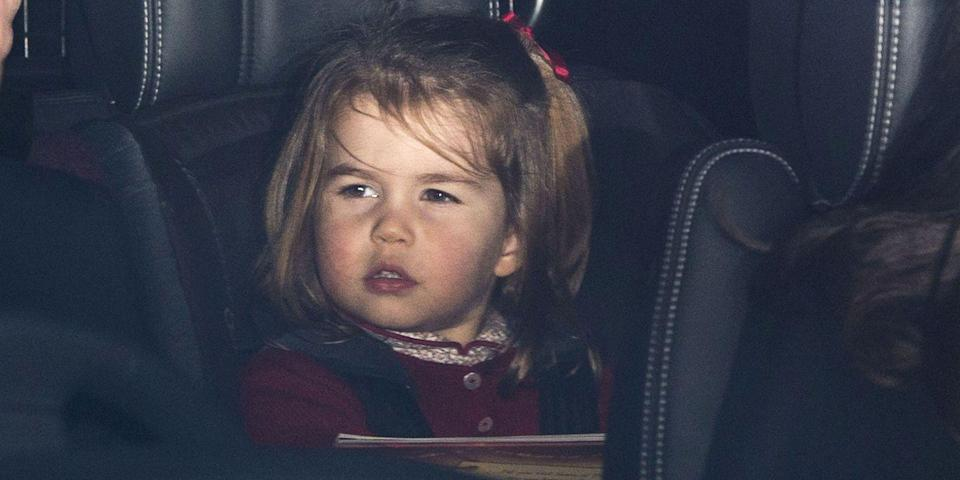 "<p>Princess Charlotte <a href=""https://www.harpersbazaar.com/celebrity/latest/a14473702/princess-charlotte-queen-christmas-luncheon/"" rel=""nofollow noopener"" target=""_blank"" data-ylk=""slk:gives a hilarious smirk"" class=""link rapid-noclick-resp"">gives a hilarious smirk</a> as the royal family attends the Christmas lunch at Buckingham Palace. </p>"