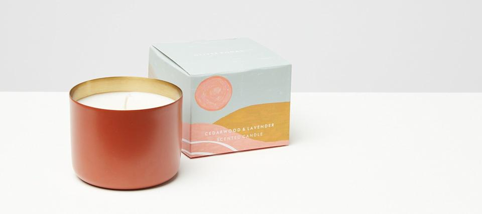 """<h2>Oliver Bonas Cedarwood & Lavender Scented Candle</h2><br>For some, autumn is all about pumpkin patches, crunchin' leaves, and enjoying the light & airy transitional weather outside — for others it's time for a relaxing hibernation indoors. If you prefer the latter, then you'll get a kick out of this candle's, """"beautiful"""", """"high-quality"""", and """"long-lasting"""" lavender-infused aromas. <br><br><em>Shop</em> <a href=""""https://www.oliverbonas.com/us/christmas-gifts/metallic-candles-landscape-#selection.scent=38643"""" rel=""""nofollow noopener"""" target=""""_blank"""" data-ylk=""""slk:Oliver Bonas"""" class=""""link rapid-noclick-resp""""><strong><em>Oliver Bonas</em></strong></a><br><br><strong>Oliver Bonas</strong> Cedarwood & Lavender Scented Candle, $, available at <a href=""""https://go.skimresources.com/?id=30283X879131&url=https%3A%2F%2Fwww.oliverbonas.com%2Fus%2Fchristmas-gifts%2Fmetallic-candles-landscape-%23selection.scent%3D38643"""" rel=""""nofollow noopener"""" target=""""_blank"""" data-ylk=""""slk:Oliver Bonas"""" class=""""link rapid-noclick-resp"""">Oliver Bonas</a>"""