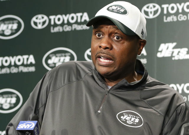 FILE - In this May 25, 2016, file photo, New York Jets defensive coordinator Kacy Rodgers speaks to reporters, in Florham Park, N.J. At the training facility, Kacy Rodgers is the New York Jets' defensive coordinator. Everywhere else, he's Dad to Kacy Rodgers II, a versatile defensive back competing to make the team. (AP Photo/Kathy Willens, File)