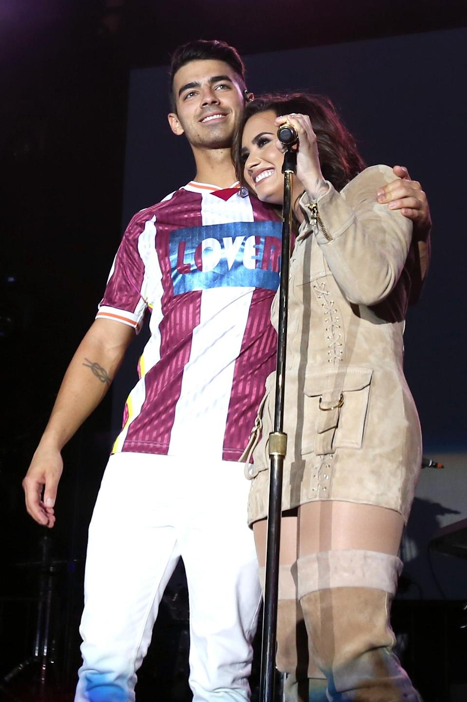 Joe Jonas and Demi Lovato, seen performing together in 2016, have remained friendly after their 2010 romance. (Photo: Jonathan Leibson/Getty Images for Marriott)