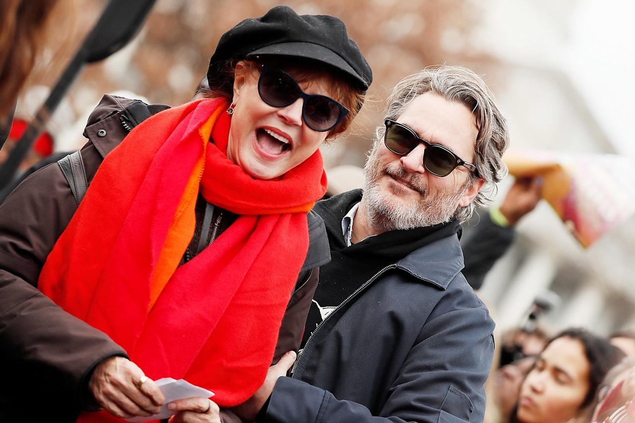Susan Sarandon and Joaquin Phoenix are seen protesting together at the last Fire Drill Fridays climate change rally in Washington, D.C. on Friday.