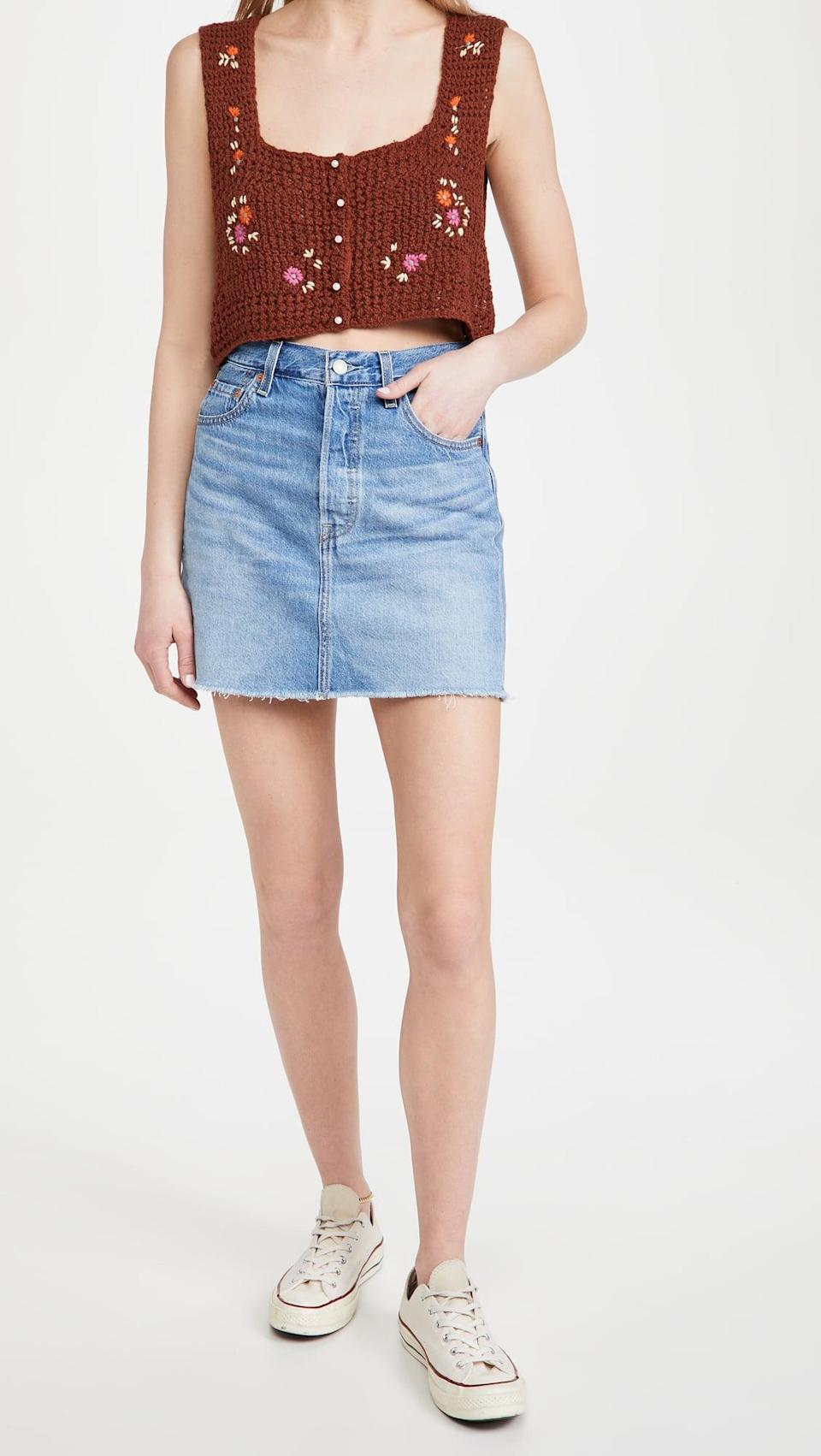 <p>This nostalgic <span>Levi's Ribcage Skirt</span> ($80) is what we're dreaming of wearing this summer. We like it with a tank or bikini top.</p>