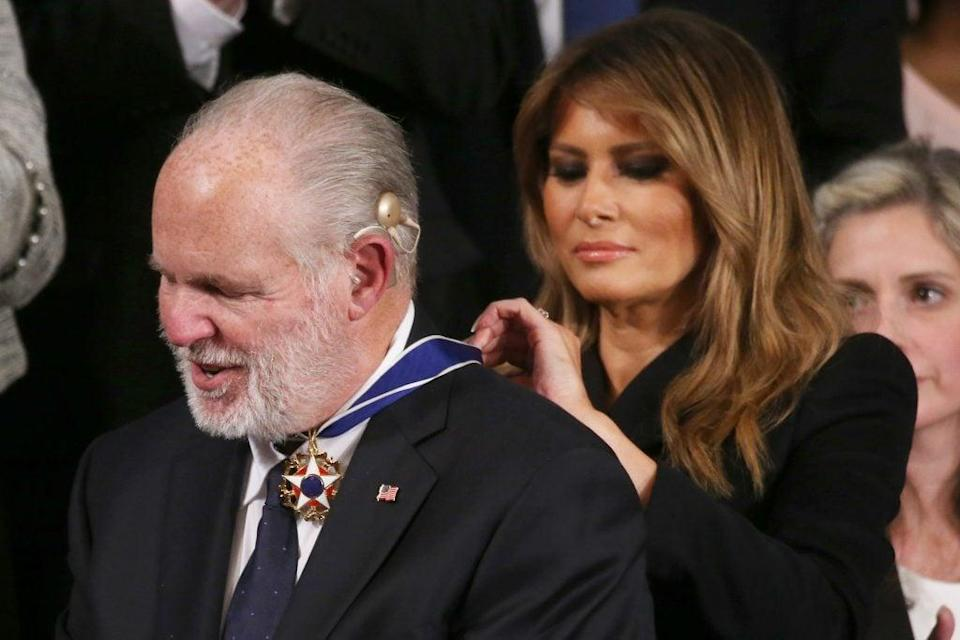 Radio personality Rush Limbaugh reacts as First Lady Melania Trump gives him the Presidential Medal of Freedom during the State of the Union address in the chamber of the U.S. House of Representatives on February 04, 2020 in Washington, DC. President Trump delivers his third State of the Union to the nation the night before the U.S. Senate is set to vote in his impeachment trial. (Photo by Mario Tama/Getty Images)