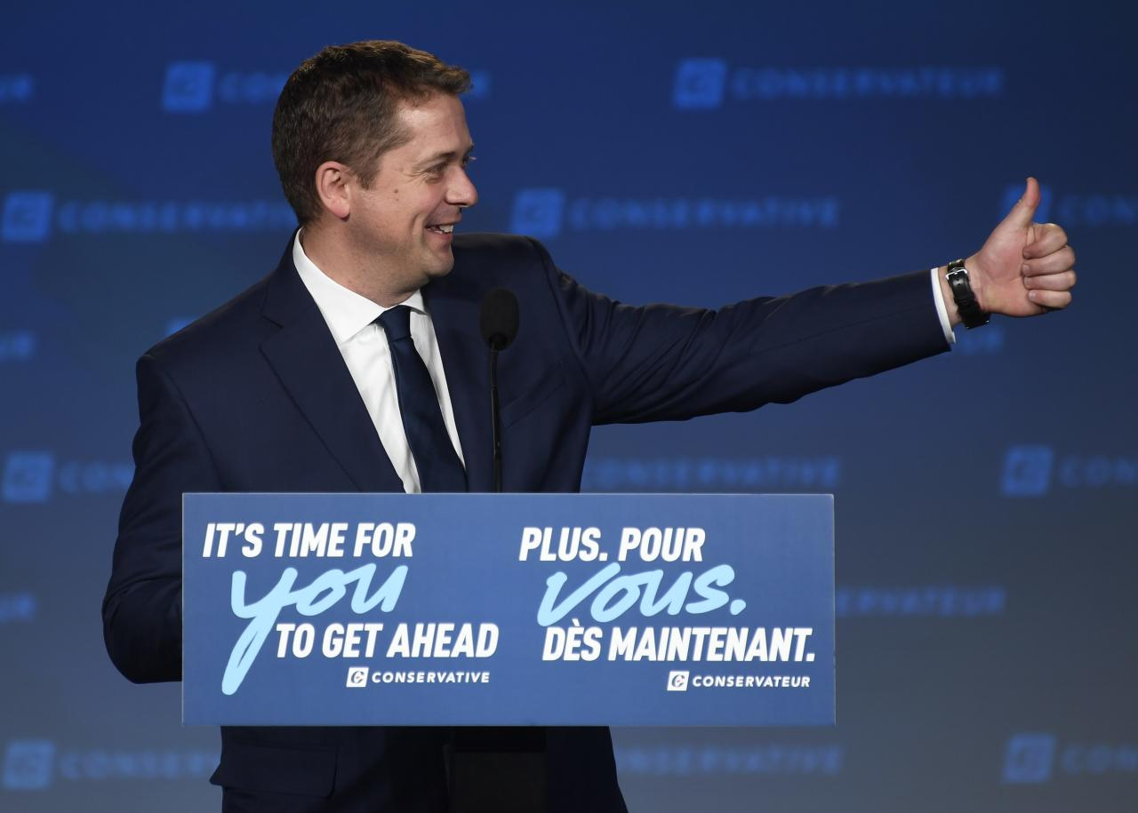 Conservative leader Andrew Scheer appears on stage at Conservative election headquarters in Regina on Monday, Oct.21, 2019. THE CANADIAN PRESS/Jeff McIntosh