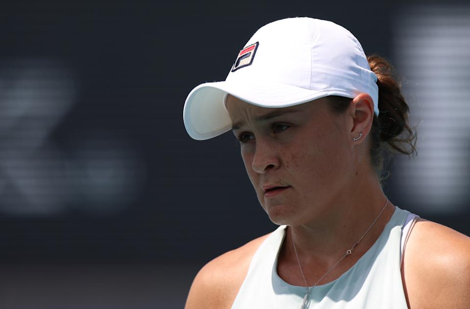 Ash Barty (pictured) looks on during her women's singles third round match against Jelena Ostapenko at the Miami Open.