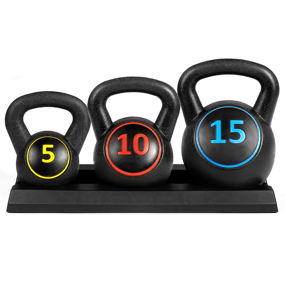 "<p>I love having this <a href=""https://www.popsugar.com/buy/3-Piece-Kettleball-Weight-Set-409370?p_name=3-Piece%20Kettleball%20Weight%20Set&retailer=walmart.com&pid=409370&price=38&evar1=fit%3Aus&evar9=46268089&evar98=https%3A%2F%2Fwww.popsugar.com%2Ffitness%2Fphoto-gallery%2F46268089%2Fimage%2F46268091%2F3-Piece-Kettleball-Weight-Set&list1=shopping%2Cwalmart%2Cfitness%20gear%2Cfitness%20shopping&prop13=mobile&pdata=1"" rel=""nofollow"" data-shoppable-link=""1"" target=""_blank"" class=""ga-track"" data-ga-category=""Related"" data-ga-label=""https://www.walmart.com/ip/Best-Choice-Products-3-Piece-HDPE-Kettleball-Exercise-Fitness-Weight-Set-Full-Body-Workout-w-5lb-10lb-15lb-Weights-Wide-Grips-Base-Rack-Black/860805207"" data-ga-action=""In-Line Links"">3-Piece Kettleball Weight Set </a> ($38) because I like to use different weight sizes for different types of workouts.</p>"