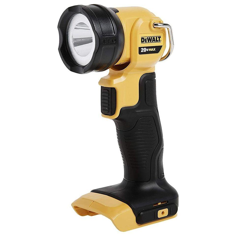 """<p><strong>DEWALT</strong></p><p>amazon.com</p><p><strong>$38.00</strong></p><p><a href=""""https://www.amazon.com/dp/B0052MILZM?tag=syn-yahoo-20&ascsubtag=%5Bartid%7C10060.g.37899122%5Bsrc%7Cyahoo-us"""" rel=""""nofollow noopener"""" target=""""_blank"""" data-ylk=""""slk:Shop Now"""" class=""""link rapid-noclick-resp"""">Shop Now</a></p><p><strong>Key Specs:</strong></p><ul><li><strong>Lumen</strong>: 1,500</li><li><strong>Waterproof</strong>: N/A</li><li><strong>Weight</strong>: 1.42 pounds</li><li><strong>Runtime</strong>: 4 to 13.5 hours</li></ul><p>You'll have to supply your own DeWalt battery, but if you already have a few on hand, this light would be ideal for those looking for a heavy-duty model. </p><p>The built-in belt hook also makes it easy to use hands-free, and the rugged, over-molded lens cover reduces the chances of damage for accidental drops and falls. It's more expensive than most options though, especially considering that it doesn't include a battery, but its high lumen output and rugged construction could make it a good choice for the right user.</p>"""