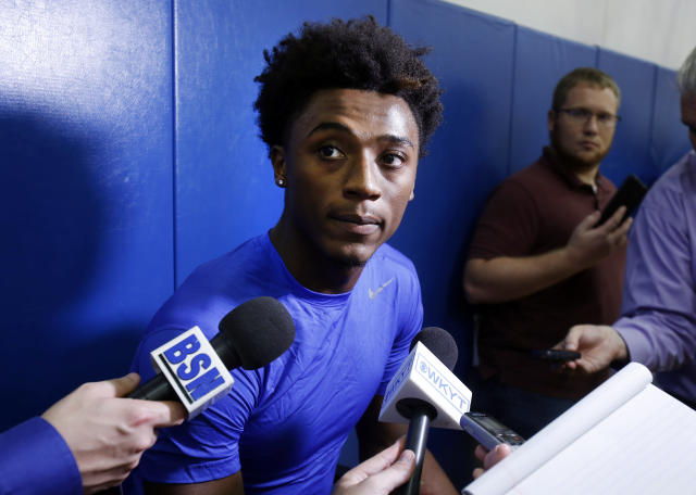 Kentucky's Ashton Hagans answers a question during the university's NCAA college basketball media day, Tuesday, Oct. 1, 2019, in Lexington, Ky. (AP Photo/James Crisp)