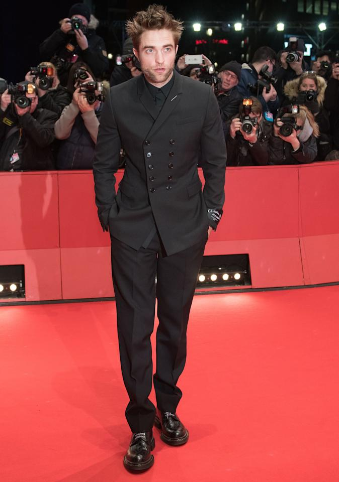 Double-breasted Dior Homme for the premiere of <em>Damsel</em> during the Berlin Film Festival.
