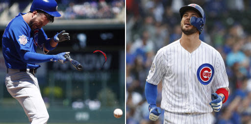 FILE - At left, in an April 22, 2018, file photo, Chicago Cubs' Kris Bryant reacts after taking a pitch to the batting helmet from Colorado Rockies starter German Marquez in the first inning of a baseball game in Denver. At right, in a May 14, 2018, file photo, Chicago Cubs' Kris Bryant reacts after striking out against the Atlanta Braves in Chicago. Tune into any game these days and you're bound to see hitters wearing helmets with a seven-inch piece of plastic _ the C-Flap _ curving around their cheek and jaw. Bryant began to use it this season after getting beaned. (AP Photo/File)