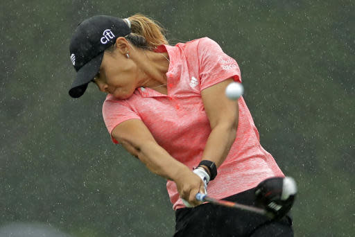 Danielle Kang follows through on her drive on the ninth hole during the second round of the LPGA Drive On Championship golf tournament Saturday, Aug. 1, 2020 at Inverness Golf Club in Toledo, Ohio. (AP Photo/Gene J. Puskar)
