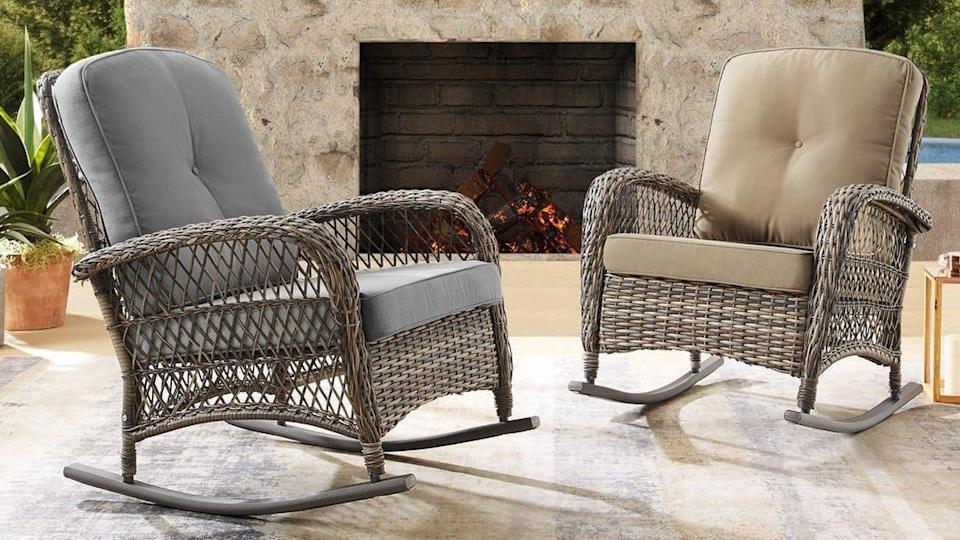 Spend cozy times outside with these woven Corvus rocking chairs.
