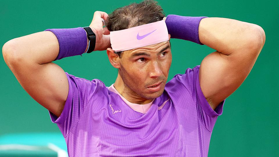 Rafael Nadal is seen here looking disappointed at the Monte Carlo Masters.