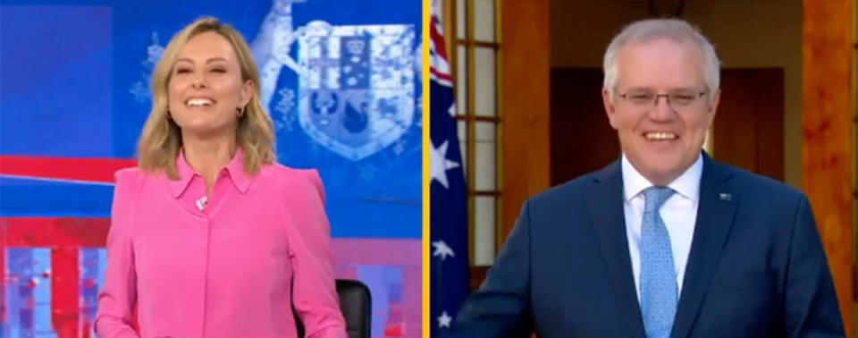 Today show host Allison Langdon makes a slip-up while interviewing Prime Minister Scott Morrison. Photo: Channel Nine.