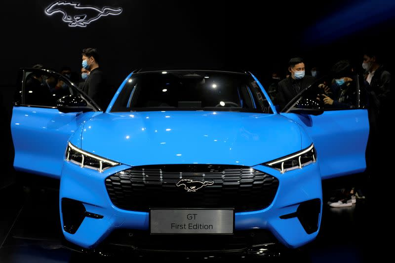 FILE PHOTO: Ford Mustang Mach-E EV at a launch event in Shanghai