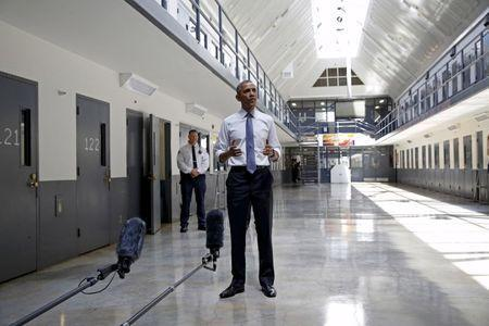 U.S. President Barack Obama speaks to reporters during his visit to the El Reno Federal Correctional Institution outside Oklahoma City in this July 16, 2015 file photo. REUTERS/Kevin Lamarque/Files