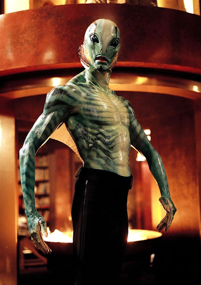 """Character: Abe Sapien (<a href=""""http://movies.yahoo.com/movie/contributor/1808453382"""">Doug Jones</a>)   Movie: <a href=""""http://movies.yahoo.com/movie/1808404362/info"""">Hellboy</a>   Reason Why He Is Blue: Because he's a telepathic, humanoid amphibian, of course."""
