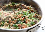 """<p>No rice? No problem. (Just use a Passover-appropriate soy sauce and leave out the peas, if you want.)</p><p>Get the recipe from <a href=""""https://www.delish.com/cooking/recipe-ideas/recipes/a50921/beef-cauliflower-fried-rice-recipe/"""" rel=""""nofollow noopener"""" target=""""_blank"""" data-ylk=""""slk:Delish"""" class=""""link rapid-noclick-resp"""">Delish</a>.</p>"""
