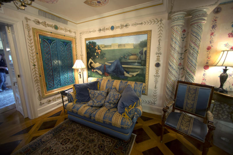 This Tuesday, July 23, 2013 photo shows a sitting room in one of the bedrooms at the Versace Mansion on Miami Beach, Fla. Though the Versace family hasn't owned the oceanfront mansion since 2000, auctioneers hope the Italian designer's legacy will attract bidders to the Miami Beach property when it goes up for auction Sept. 17. Gianni Versace was fatally shot on the mansion's stone front steps in 1997 by serial killer Andrew Cunanan. (AP Photo/J Pat Carter)