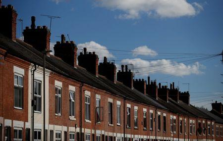 A row of terraced houses is seen in Leicester central England