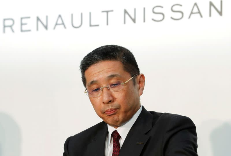 FILE PHOTO : Nissan CEO Hiroto Saikawa attends a joint news conference in Yokohama