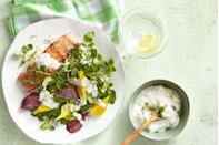 """<p>This fresh, simple combo of steamed beets and broiled salmon is easy to prepare and perfect for a light dinner. </p><p><strong><a href=""""https://www.countryliving.com/food-drinks/recipes/a37756/salmon-and-beets-with-yogurt-sauce-over-watercress-recipe/"""" rel=""""nofollow noopener"""" target=""""_blank"""" data-ylk=""""slk:Get the recipe"""" class=""""link rapid-noclick-resp"""">Get the recipe</a>.</strong></p><p><strong><a class=""""link rapid-noclick-resp"""" href=""""https://www.amazon.com/TOPOKO-Vegetable-Pressure-Stainless-Expandable/dp/B016AZJGI0/?tag=syn-yahoo-20&ascsubtag=%5Bartid%7C10050.g.34063059%5Bsrc%7Cyahoo-us"""" rel=""""nofollow noopener"""" target=""""_blank"""" data-ylk=""""slk:SHOP STEAMER BASKETS"""">SHOP STEAMER BASKETS</a><br></strong></p>"""