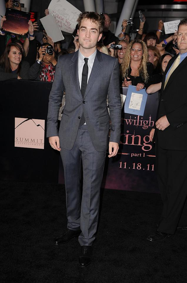 "<a href=""http://movies.yahoo.com/movie/contributor/1808623206"">Robert Pattinson</a> at the Los Angeles premiere of <a href=""http://movies.yahoo.com/movie/1810158314/info"">The Twilight Saga: Breaking Dawn - Part 1</a> on November 14, 2011."