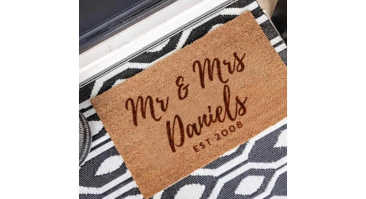 Personalised Mr And Mrs Wedding Gift Door Mat (Not On The High Street)