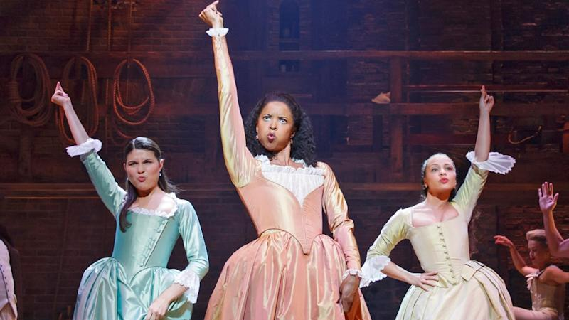 "Renée Elise Goldsberry, center, with Phillipa Soo, left, and Jasmine Cephas Jones in ""Hamilton."""