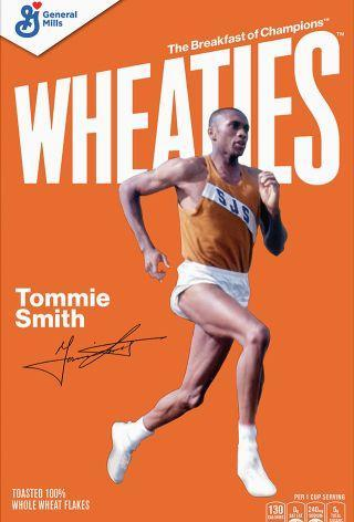 Tommie Smith on the Wheaties box.