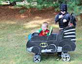 """<p>Holy heist, Batman! Show off your DIY chops with this <a href=""""https://justagirlandherblog.com/diy-batmobile/"""" rel=""""nofollow noopener"""" target=""""_blank"""" data-ylk=""""slk:stroller-to-Batmobile"""" class=""""link rapid-noclick-resp"""">stroller-to-Batmobile</a> transformation. Your little ones will absolutely love to go trick-or-treating in style as the dynamic duo.</p>"""