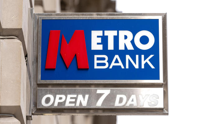 Metro Bank logo at one of their branches. (Dave Rushen/SOPA Images/LightRocket via Getty Images)