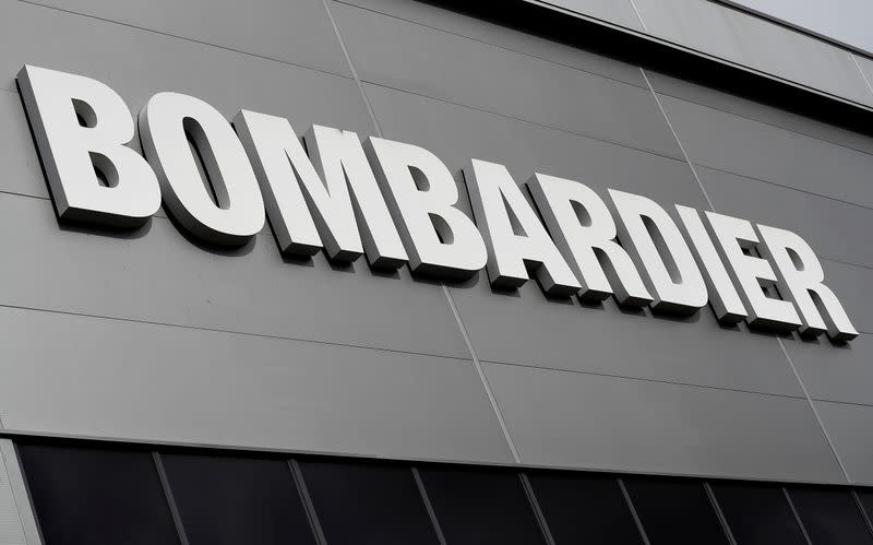 FILE PHOTO: Bombardier's logo is seen on the building of the company's service centre at Biggin Hill