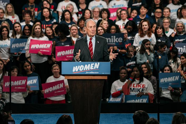 """Mike Bloomberg initiates the """"Women For Mike"""" outreach campaign, Jan. 15, 2020. (Photo: Scott Heins/Getty Images)"""