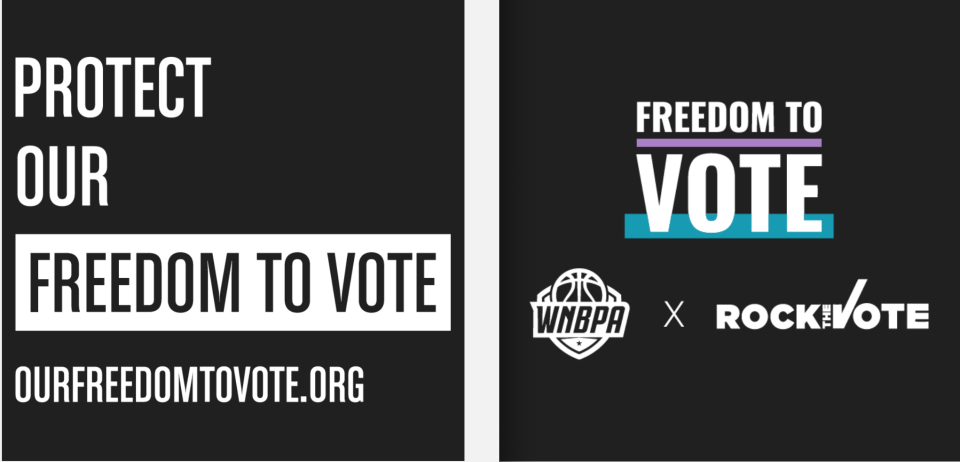 The front (left) and back of the shirts WNBA players will wear Tuesday night as the U.S. Senate considers a voting rights bill. (Screenshot/Rock the Vote)