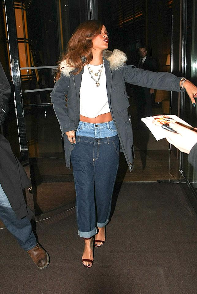 Rihanna pictured leaving her hotel in London, UK.