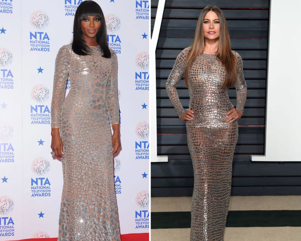 <p>Sofia Vergara attended the Vanity Fair 2017 Oscars party in a metallic crocodile print Michael Kors Collection dress. The look was classic Vergara and matched the theme of the night in shimmering Oscars silver and gold, with just one caveat: Fans saw it on Naomi Campbell three years ago. Campbell chose the same Michael Kors bodycon number to present at the 2014 National Television Awards. She polished the look with minimal jewelry — one simple gold ring and another in chunky gold — while Vergara went with statement Lorraine Schwartz diamonds. <i>[Photo: PA]</i> </p>