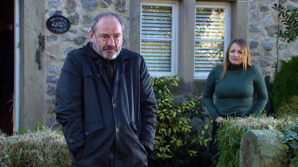 FROM ITV  STRICT EMBARGO  Print media - No Use Before Tuesday 2nd March 2021 Online Media - No Use Before 0700hrs  Tuesday 2nd March 2021  Emmerdale - Ep 8989  Tuesday 9th March 2021  Jimmy King [NICK MILES] vents his frustrations to Nicola King [NICOLA WHEELER], while, unseen, a photographer takes pictures of them. As he flicks through the damning looking images,   Picture contact David.crook@itv.com   This photograph is (C) ITV Plc and can only be reproduced for editorial purposes directly in connection with the programme or event mentioned above, or ITV plc. Once made available by ITV plc Picture Desk, this photograph can be reproduced once only up until the transmission [TX] date and no reproduction fee will be charged. Any subsequent usage may incur a fee. This photograph must not be manipulated [excluding basic cropping] in a manner which alters the visual appearance of the person photographed deemed detrimental or inappropriate by ITV plc Picture Desk. This photograph must not be syndicated to any other company, publication or website, or permanently archived, without the express written permission of ITV Picture Desk. Full Terms and conditions are available on  www.itv.com/presscentre/itvpictures/terms