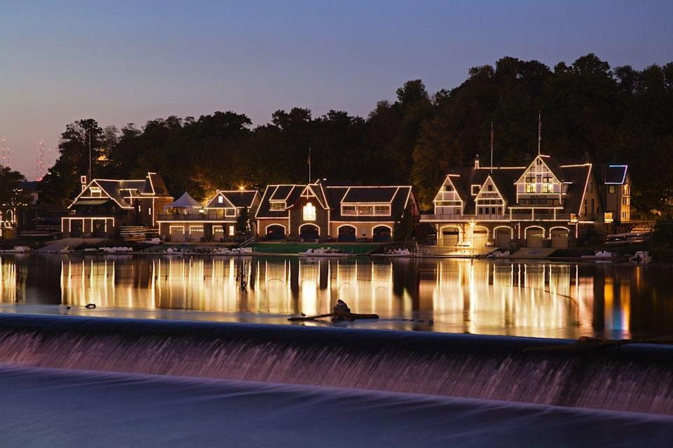 <p>Boathouse Row along Philadelphia's Schuylkill River provides one of the city's most remarkable nighttime views. The 12 buildings making up the row house some of the city's local boating clubs, a recreation center, and a private social club.</p>