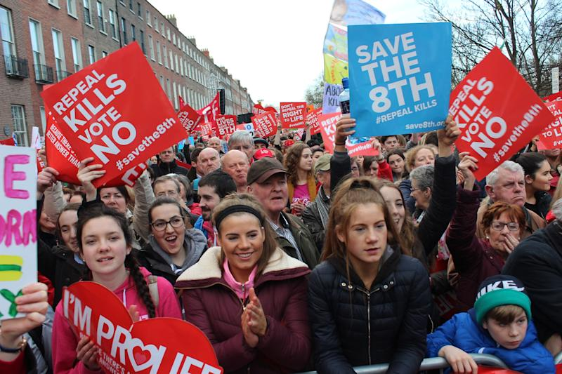 Anti-abortion advocates rally in Dublin on March 10.