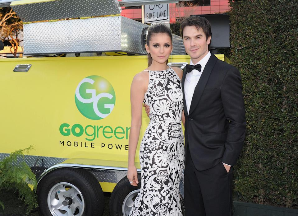 "Nina Dobrev and Ian Somerhalder's relationship in <em>The Vampire Diaries</em> had higher stakes since they were, you know, vampires, but the couple did date for three years offscreen. After their breakup, Somerhalder started dating, and later married, Dobrev's friend Nikki Reed. But all is well: <a href=""https://www.eonline.com/news/1006020/nina-dobrev-defends-friendships-with-ian-somerhalder-and-nikki-reed"" rel=""nofollow noopener"" target=""_blank"" data-ylk=""slk:Dobrev insists"" class=""link rapid-noclick-resp"">Dobrev insists</a> she doesn't think it's ""weird at all."""
