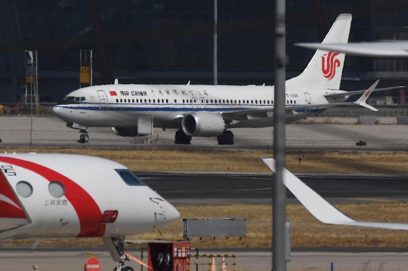 Air China Boeing 737 MAX 8 planes on the apron after after being grounded at Beijing Capital Airport. China's three biggest airlines have filed claims seeking compensation from Boeing over the grounding