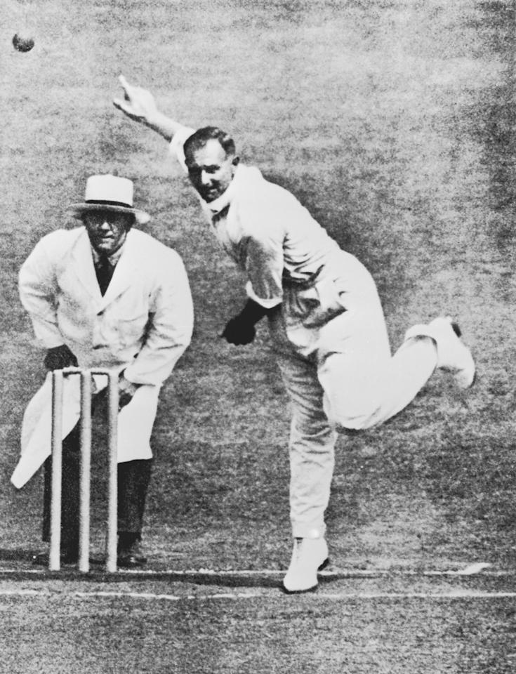 Yorkshire cricketer Hedley Verity (1905 - 1943) in action, circa 1940. (Photo by Hulton Archive/Getty Images)
